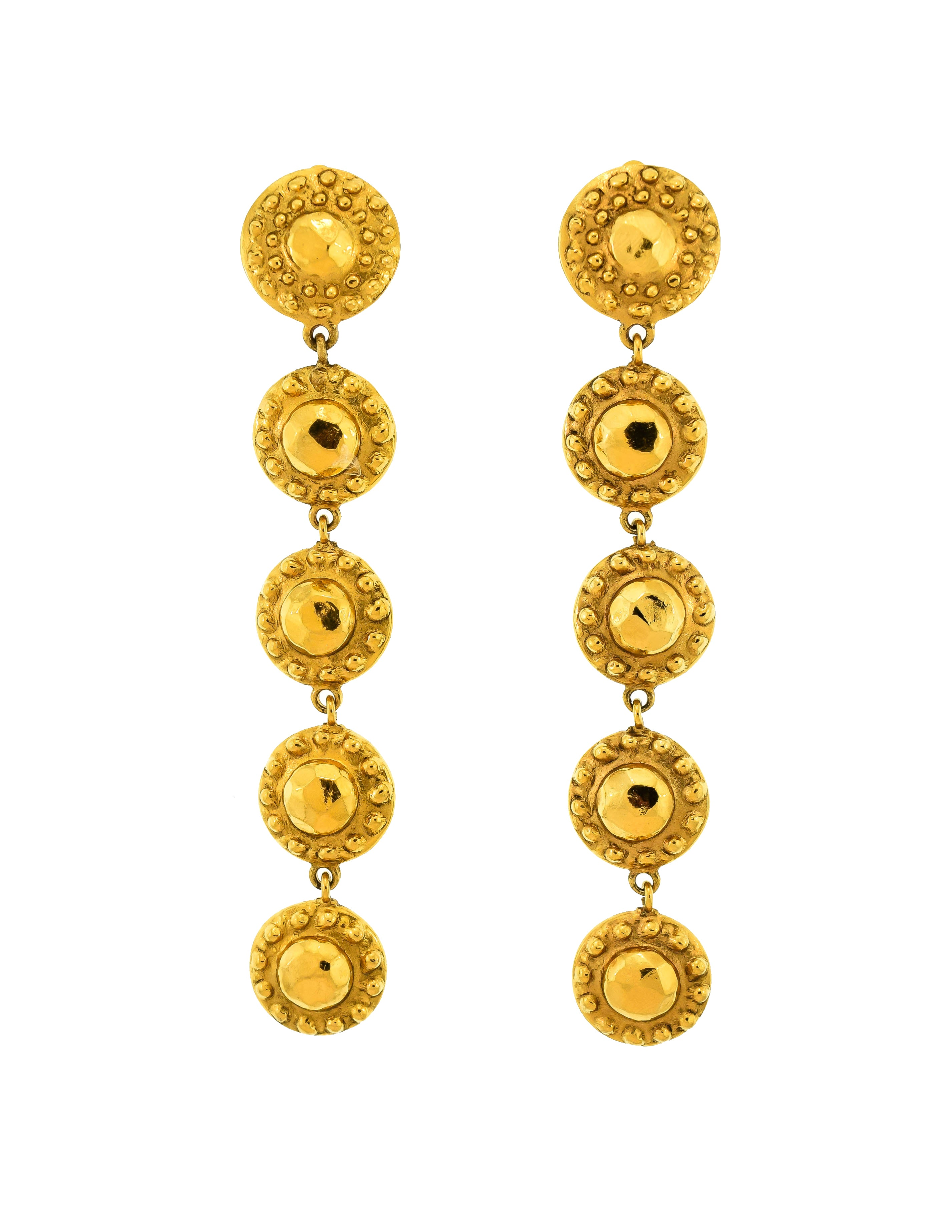 Chanel Vintage Gold Hammered Circle Dangle Earrings