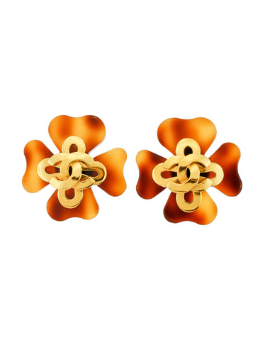 Chanel Vintage Tortoise Clover Earrings