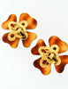 Chanel Vintage Tortoise Clover Earrings - Amarcord Vintage Fashion  - 5