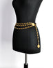 Chanel Vintage Black & Gold Triple Row Chain Belt - Amarcord Vintage Fashion  - 2