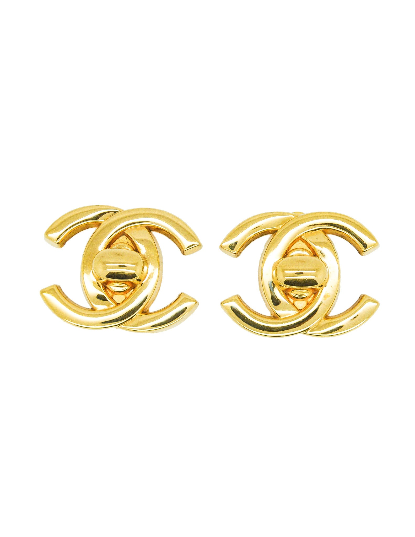Chanel Vintage Turn Lock CC Clasp Earrings - Amarcord Vintage Fashion  - 1