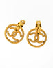 Chanel Vintage Gold Twisted CC Logo Dangle Earrings - Amarcord Vintage Fashion  - 2