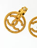 Chanel Vintage Gold Twisted CC Logo Dangle Earrings - Amarcord Vintage Fashion  - 6