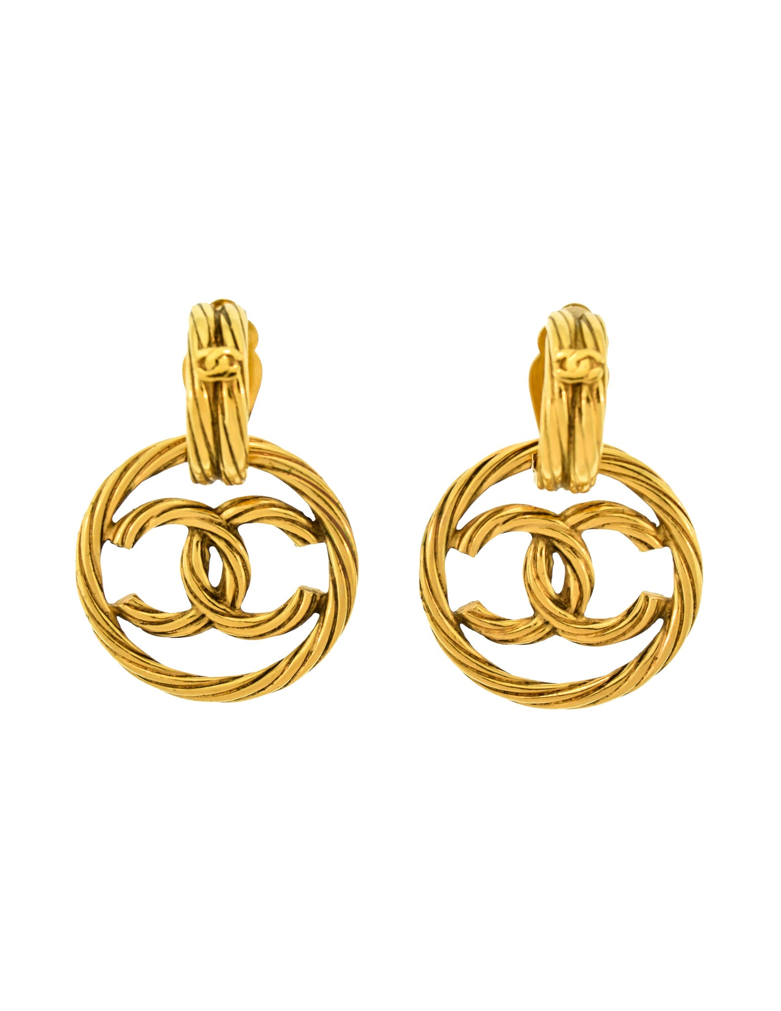 Chanel Vintage Gold Twisted CC Logo Dangle Earrings - Amarcord Vintage Fashion  - 1