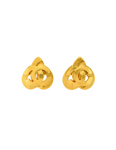 Chanel Vintage Brushed Gold CC Logo Triad Earrings