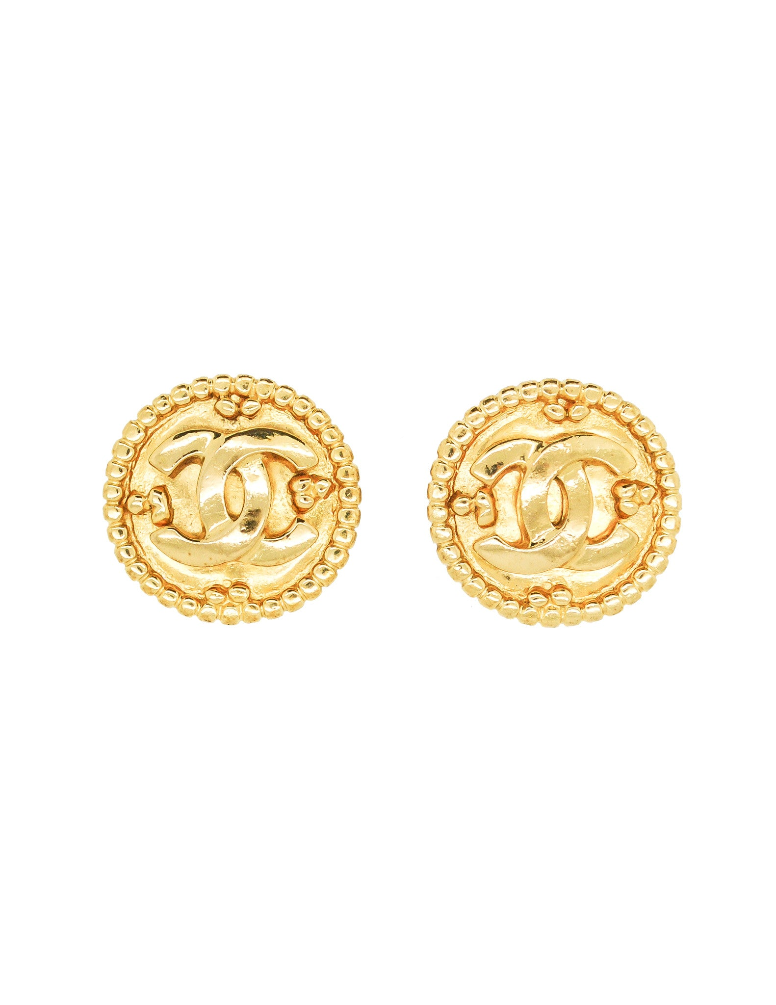 rstkd quilted chanel products gold earrings on vintage clip