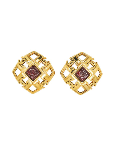 Chanel Vintage Gripoix Gold CC Logo Earrings