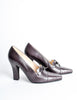 Chanel Vintage Quilted Eggplant Loafer Heels - Amarcord Vintage Fashion  - 4
