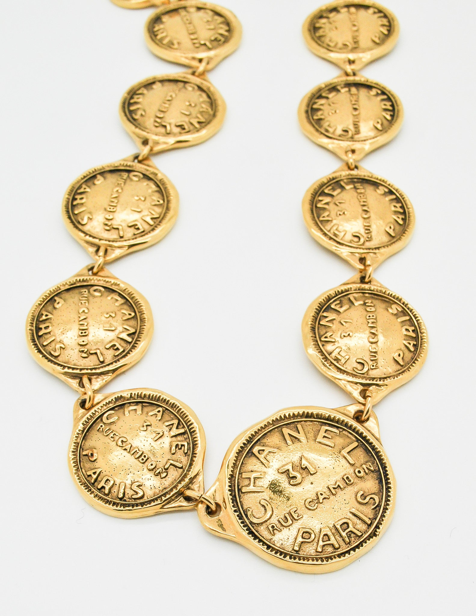 metallic cambon medallion gold chanel bracelet rue gallery lyst jewelry in coin