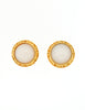 Chanel Vintage Gold & White Glass Namesake Earrings - Amarcord Vintage Fashion  - 4