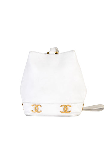Chanel Vintage White Caviar Bucket Bag