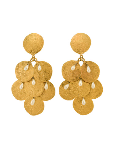 Charles Jourdan Vintage Massive Gold Leaf Coin Pearl Dangle Drop Earrings