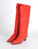 Charles Jourdan Vintage Red Suede Knee High Boots - Amarcord Vintage Fashion  - 2