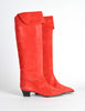 Charles Jourdan Vintage Red Suede Knee High Boots - Amarcord Vintage Fashion  - 4