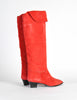 Charles Jourdan Vintage Red Suede Knee High Boots - Amarcord Vintage Fashion  - 5