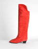 Charles Jourdan Vintage Red Suede Knee High Boots - Amarcord Vintage Fashion  - 3