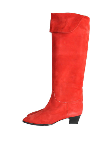 2e067c51e98 Charles Jourdan Vintage Red Suede Knee High Boots