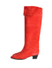 Charles Jourdan Vintage Red Suede Knee High Boots - Amarcord Vintage Fashion  - 1