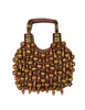 Chloe Vintage Brown Beaded Canvas Top Handle Bracelet Bag
