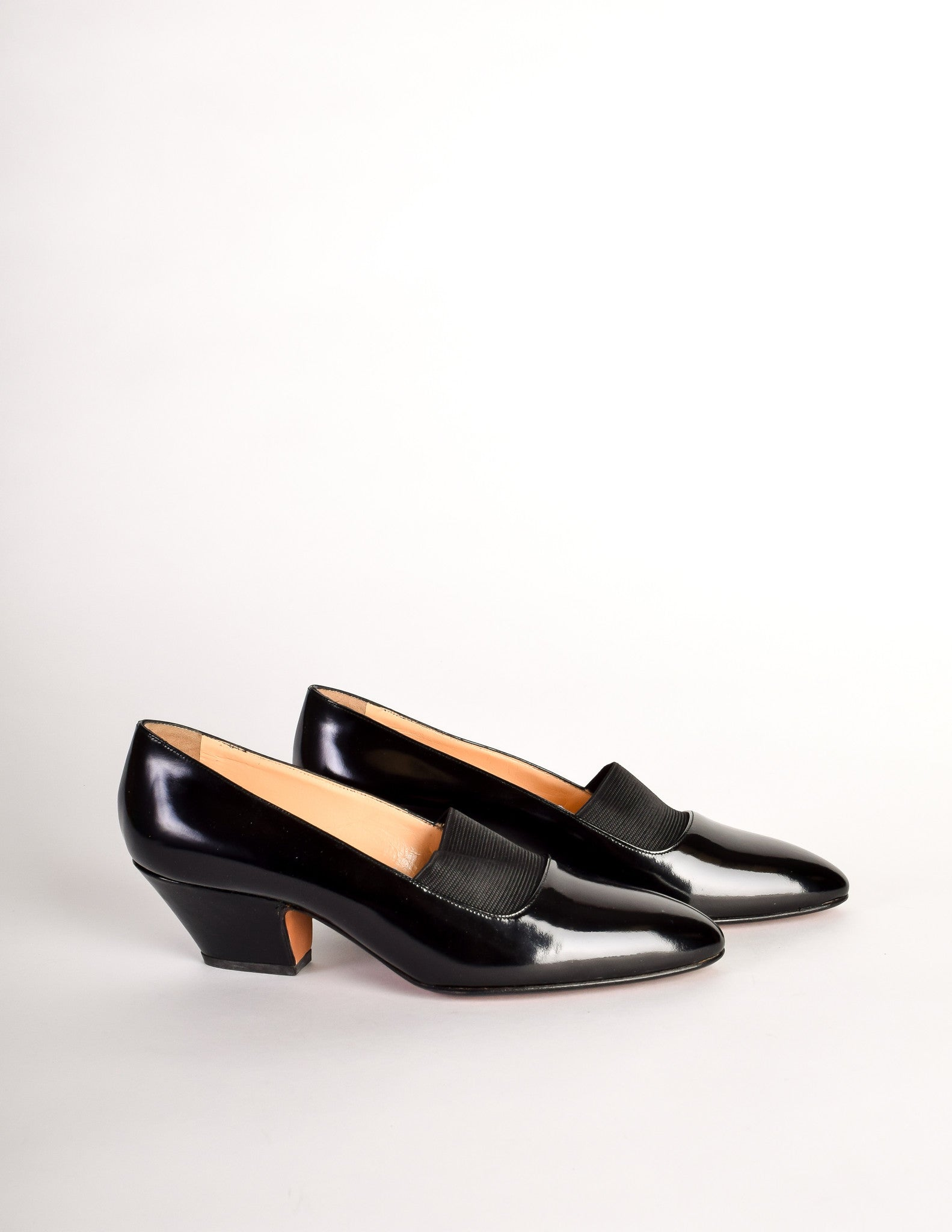 Chloe Vintage Black Patent Leather Stretch Panel Pointed Toe Heels -  Amarcord Vintage Fashion - 3