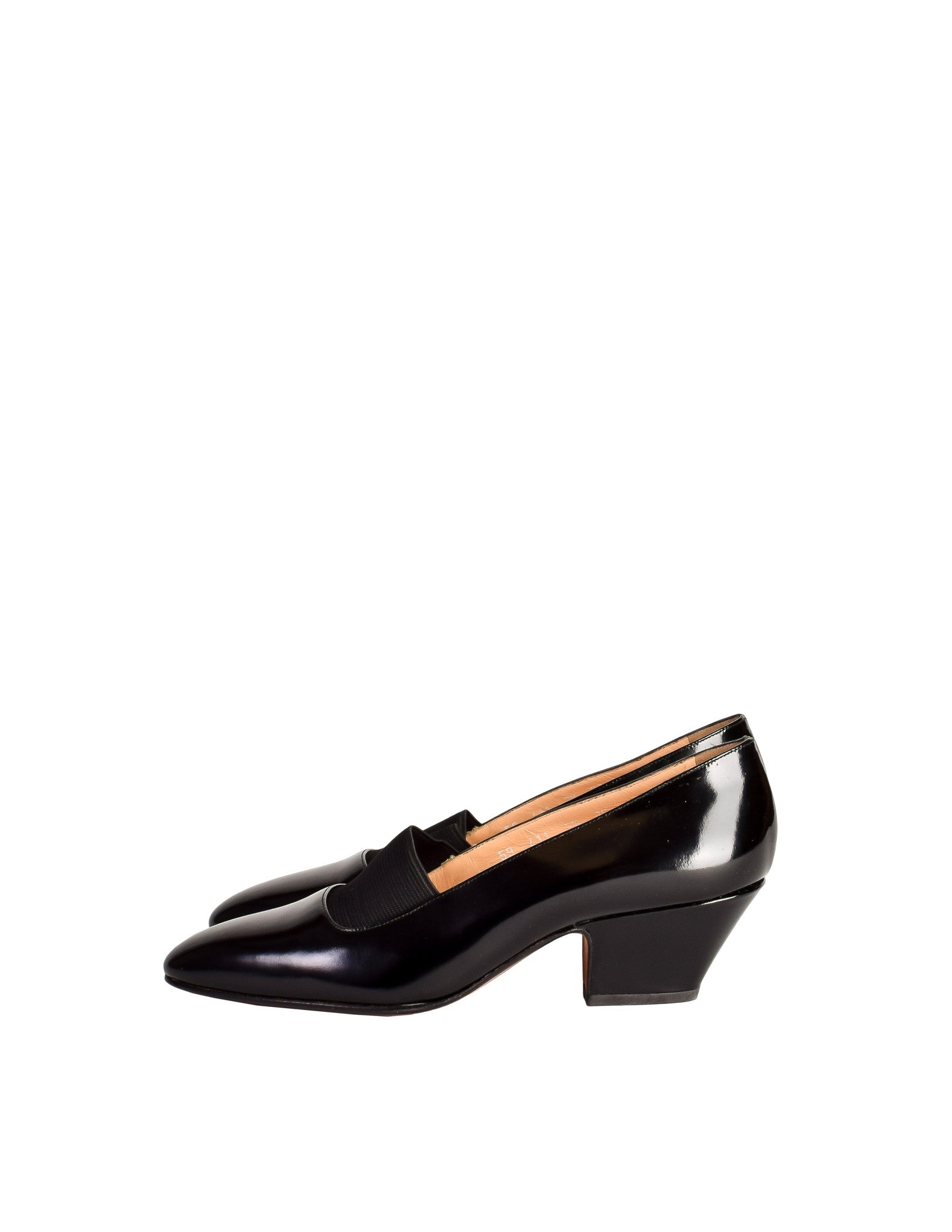 Chloe Vintage Black Patent Leather Stretch Panel Pointed Toe Heels - Amarcord Vintage Fashion  - 1