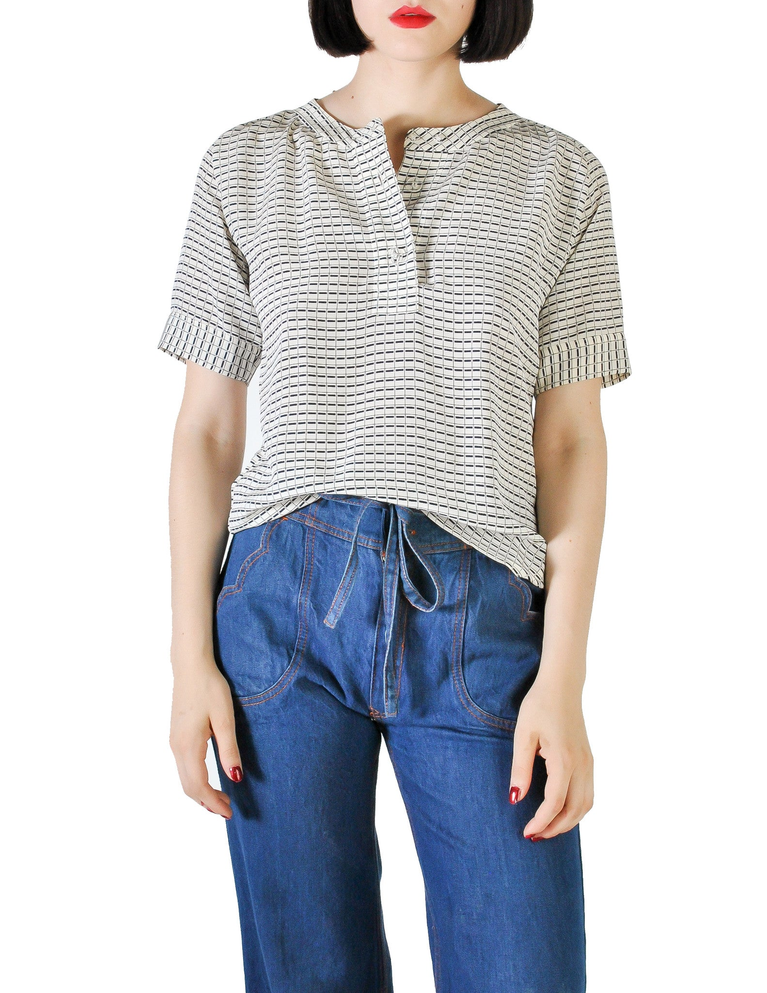 Chloé Vintage Navy Blue & Cream Grid Print Silk Top - Amarcord Vintage Fashion  - 1