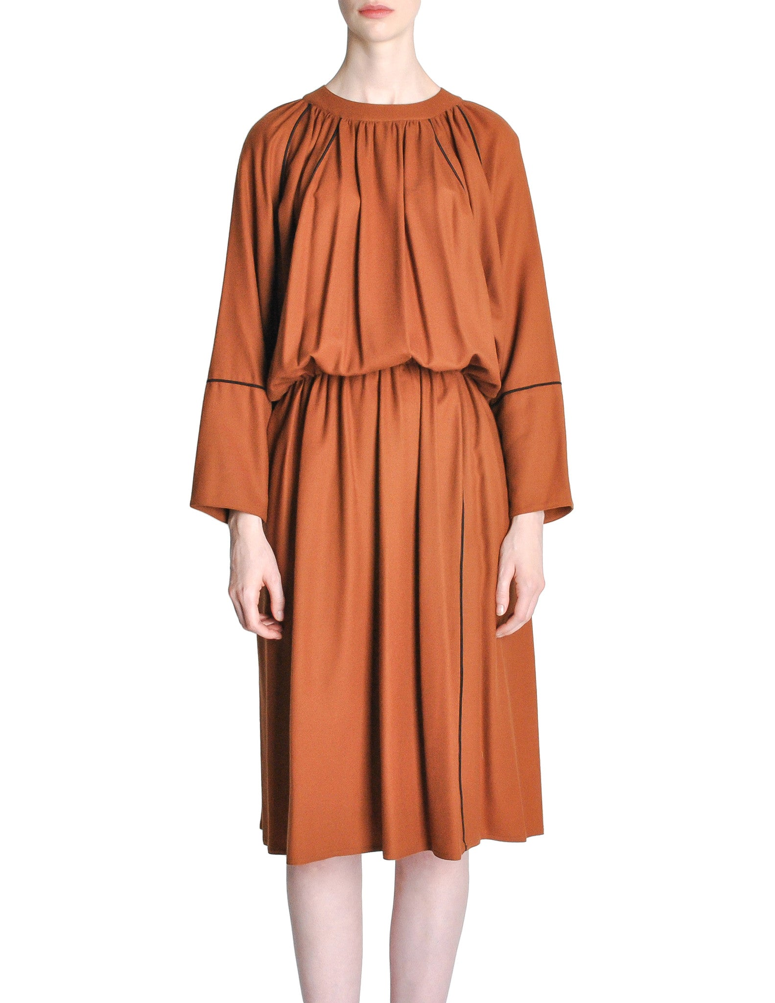 Chloe Vintage Rust Wool Dress - Amarcord Vintage Fashion  - 1