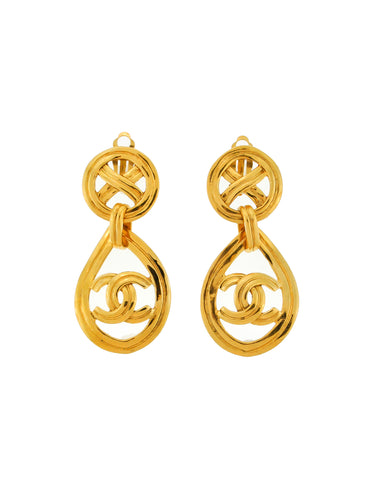 Chanel Vintage Gold CC Logo Teardrop Earrings