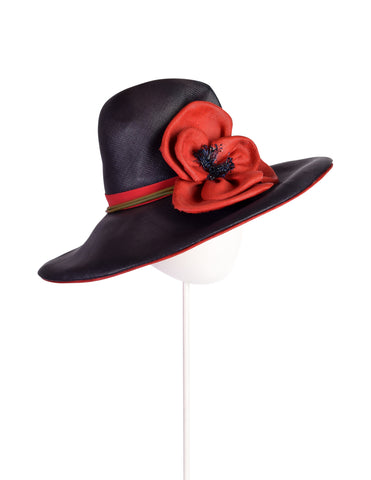 Christian Dior Chapeaux Vintage Blue and Red Flower Straw Hat