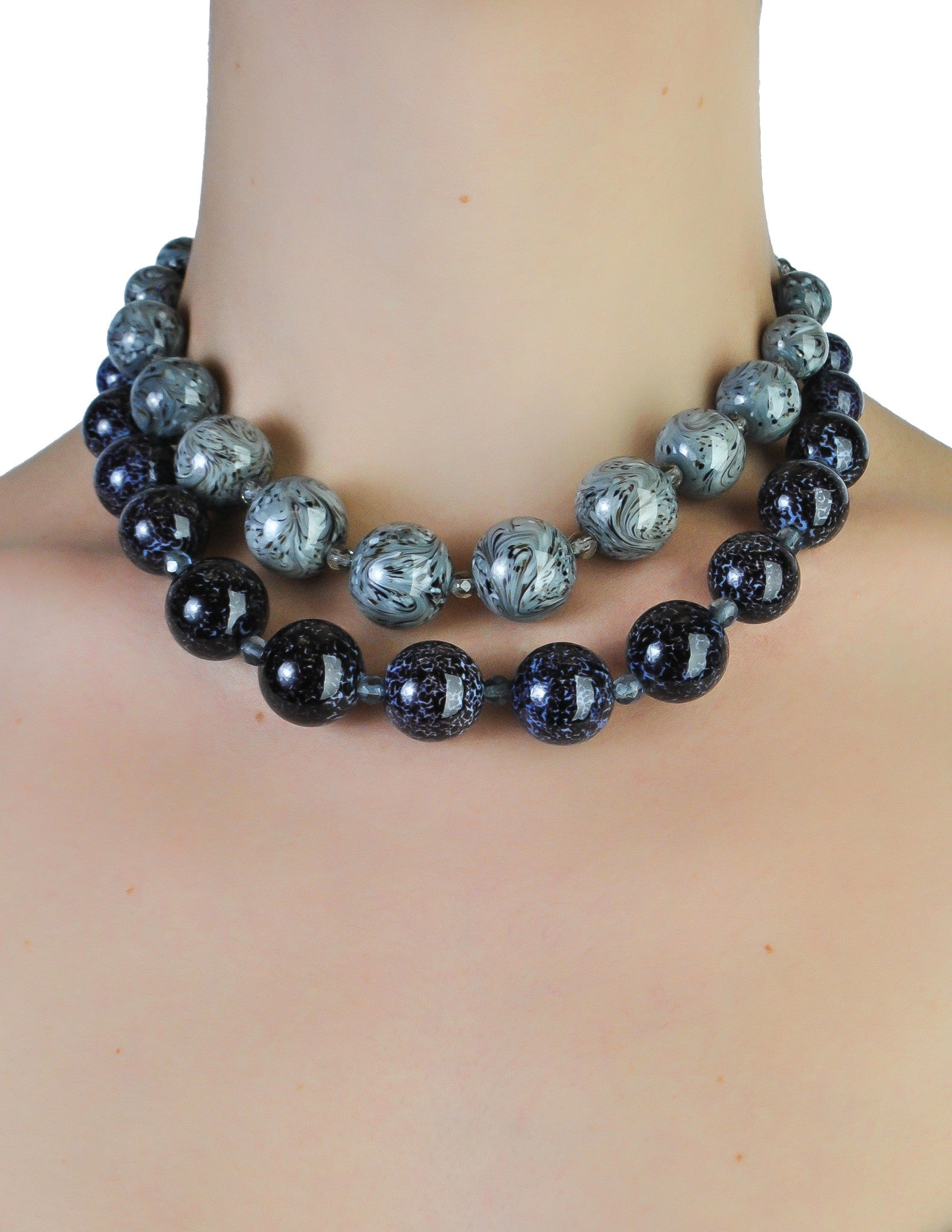 Christian Dior Vintage Two Tone Blue Marble Glass Bead Necklace - Amarcord Vintage Fashion  - 1