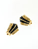 Christian Dior Vintage Black Enamel Rhinestone Gold Earrings - Amarcord Vintage Fashion  - 3