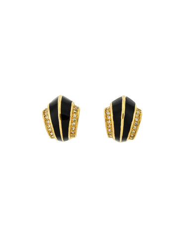 Christian Dior Vintage Black Enamel Rhinestone Gold Earrings