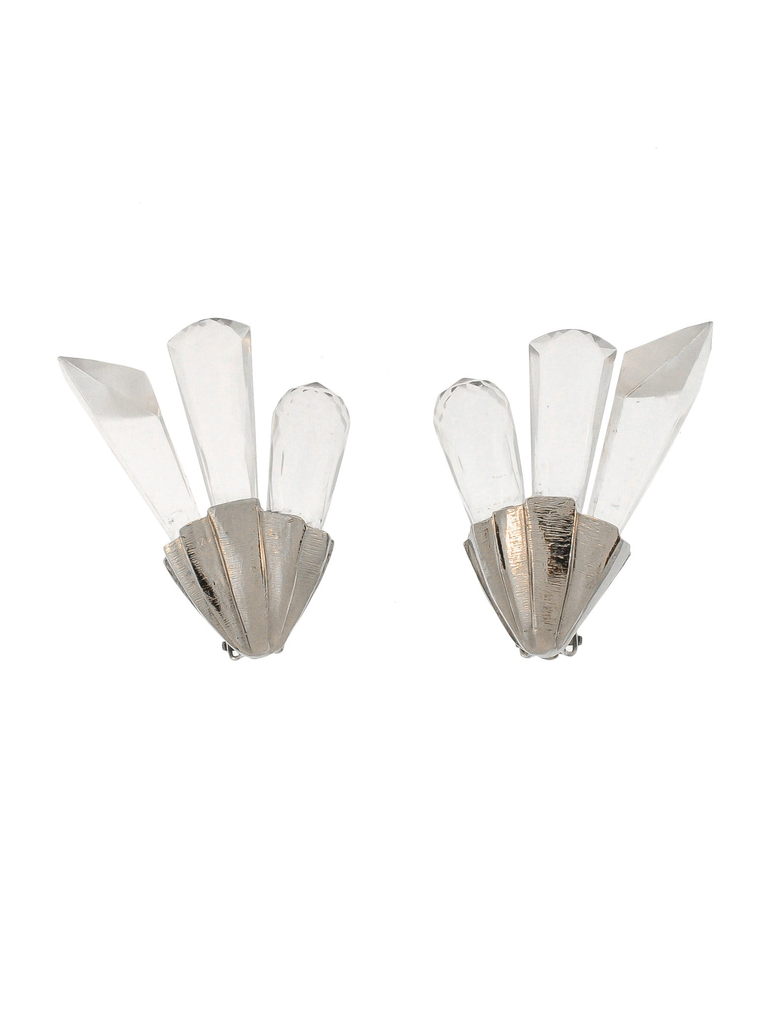 Christian Dior Vintage Silver Faceted Clear Crystal Spike Earrings - Amarcord Vintage Fashion  - 1