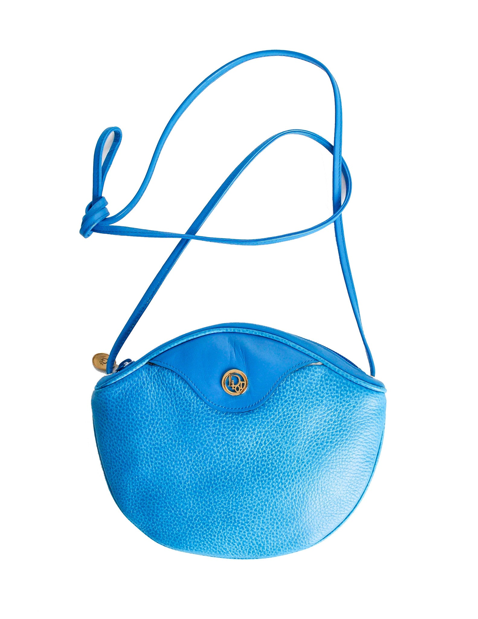 Christian Dior Vintage Blue Leather Crossbody Bag - Amarcord Vintage Fashion  - 1