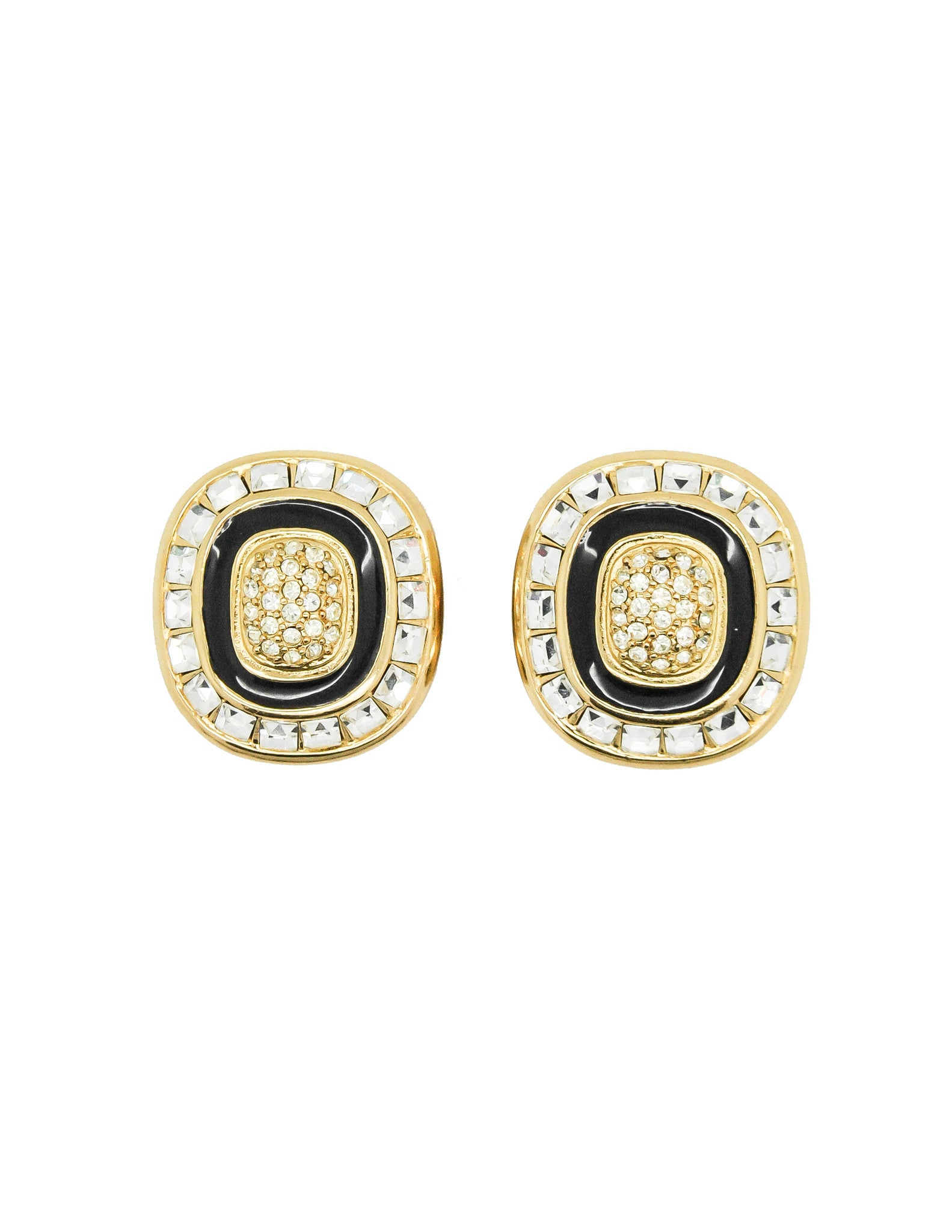 Christian Dior Vintage Diamante Enamel Earrings - Amarcord Vintage Fashion  - 1