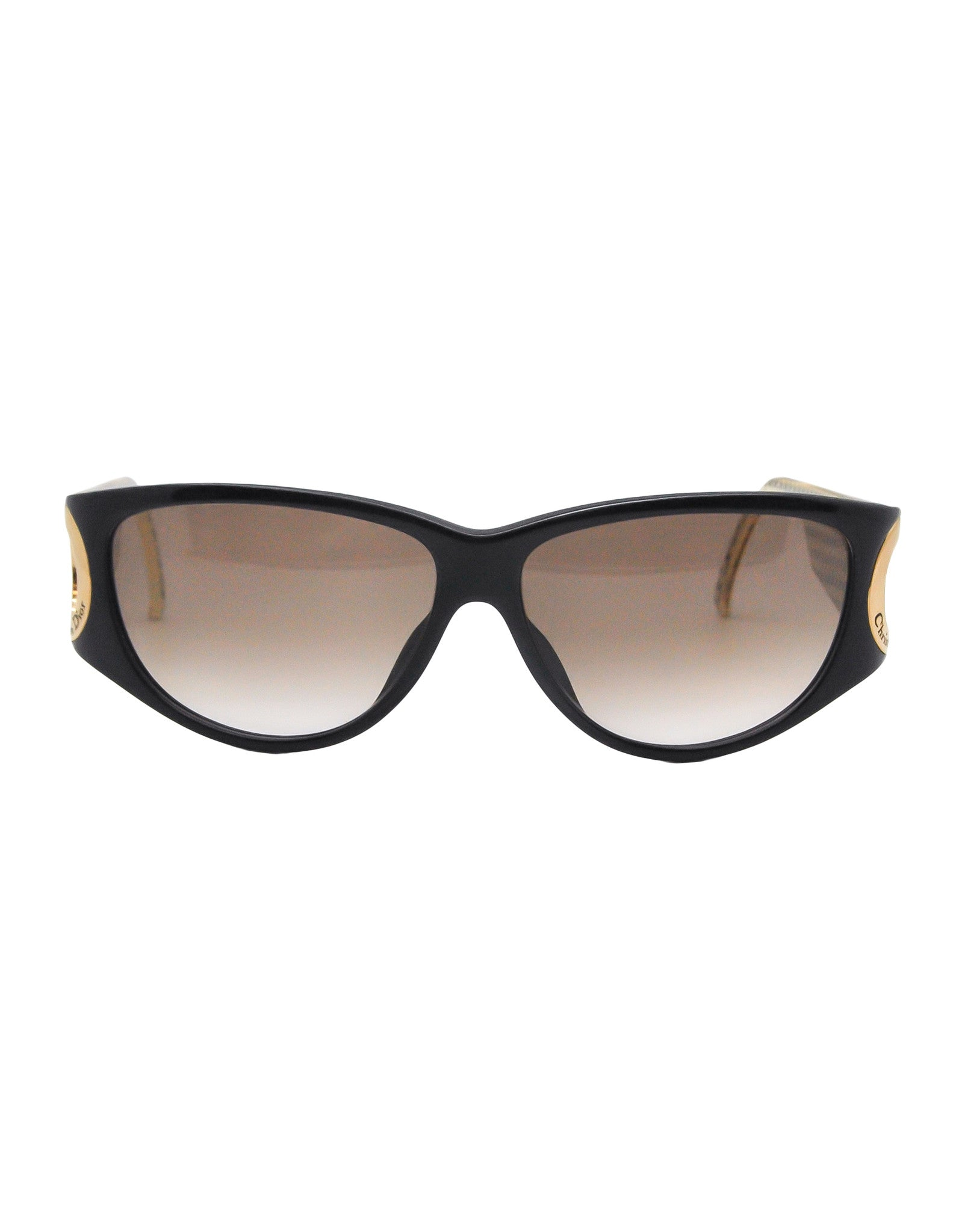 Christian Dior Black and Gold Houndstooth Sunglasses 2662 - Amarcord Vintage Fashion  - 1
