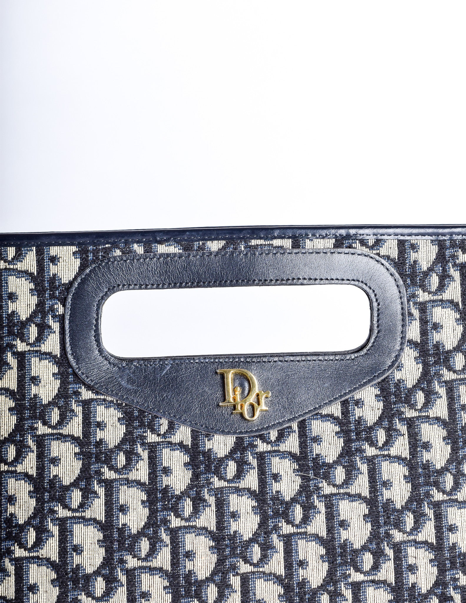 67cc9ba4416 Christian Dior Vintage Navy Blue Monogram Canvas & Leather Bag - Amarcord  Vintage Fashion - 5