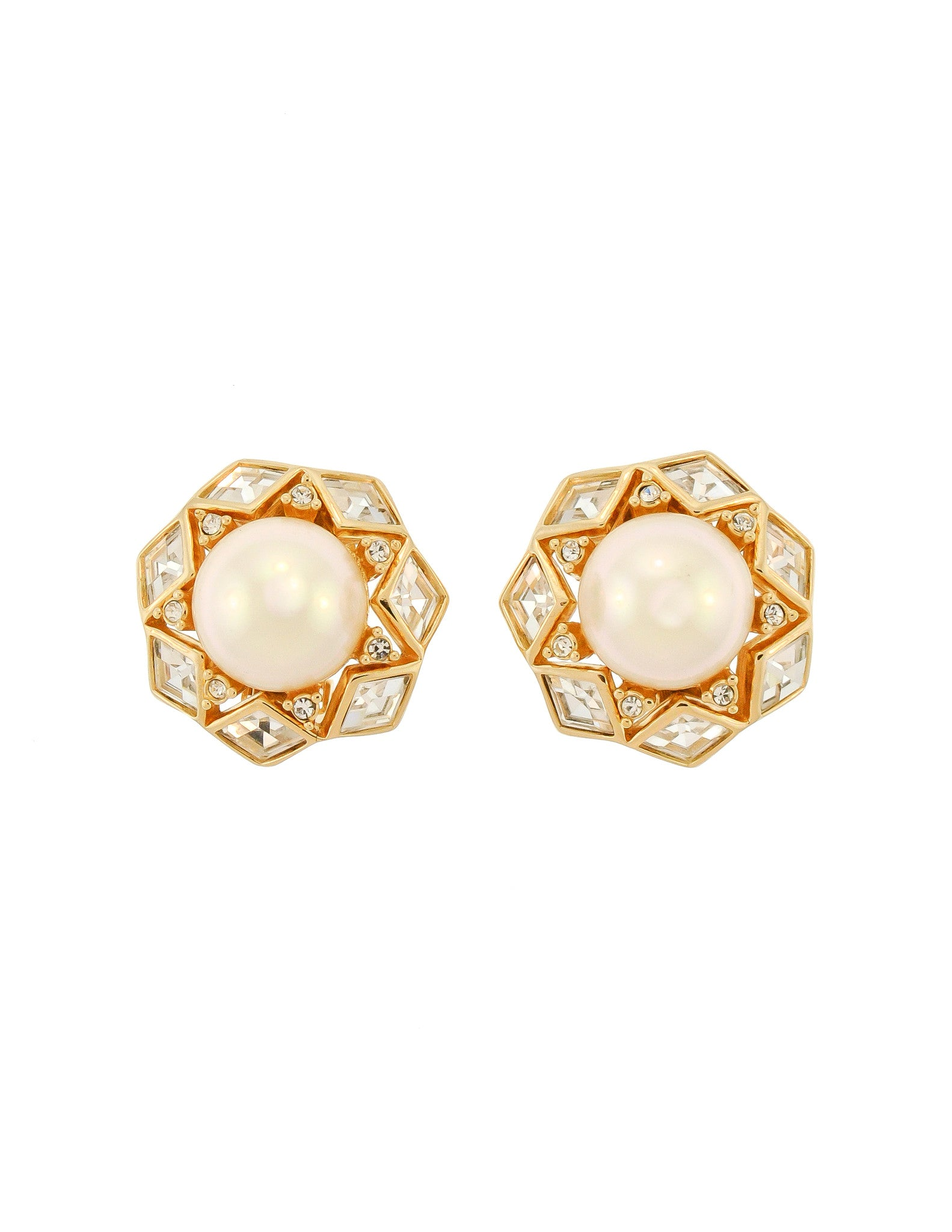 Christian Dior Vintage Gold Rhinestone Pearl Earrings - Amarcord Vintage Fashion  - 1