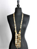 Christian Lacroix Vintage Extra Long Brushed Gold Tablet Necklace - Amarcord Vintage Fashion  - 2