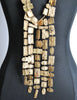 Christian Lacroix Vintage Extra Long Brushed Gold Tablet Necklace - Amarcord Vintage Fashion  - 4