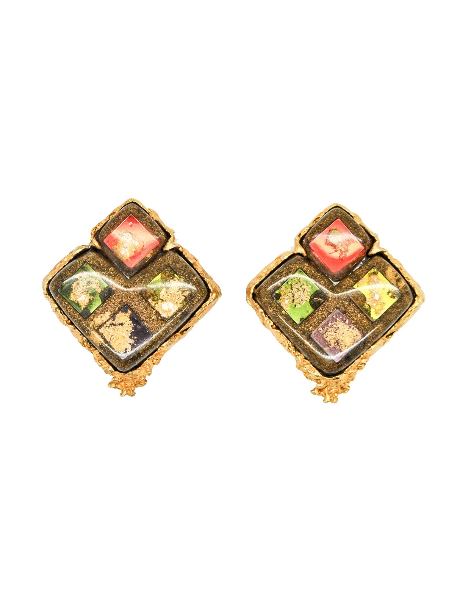 Christian Lacroix Vintage Colorful Glass Tile Earrings - Amarcord Vintage Fashion  - 1