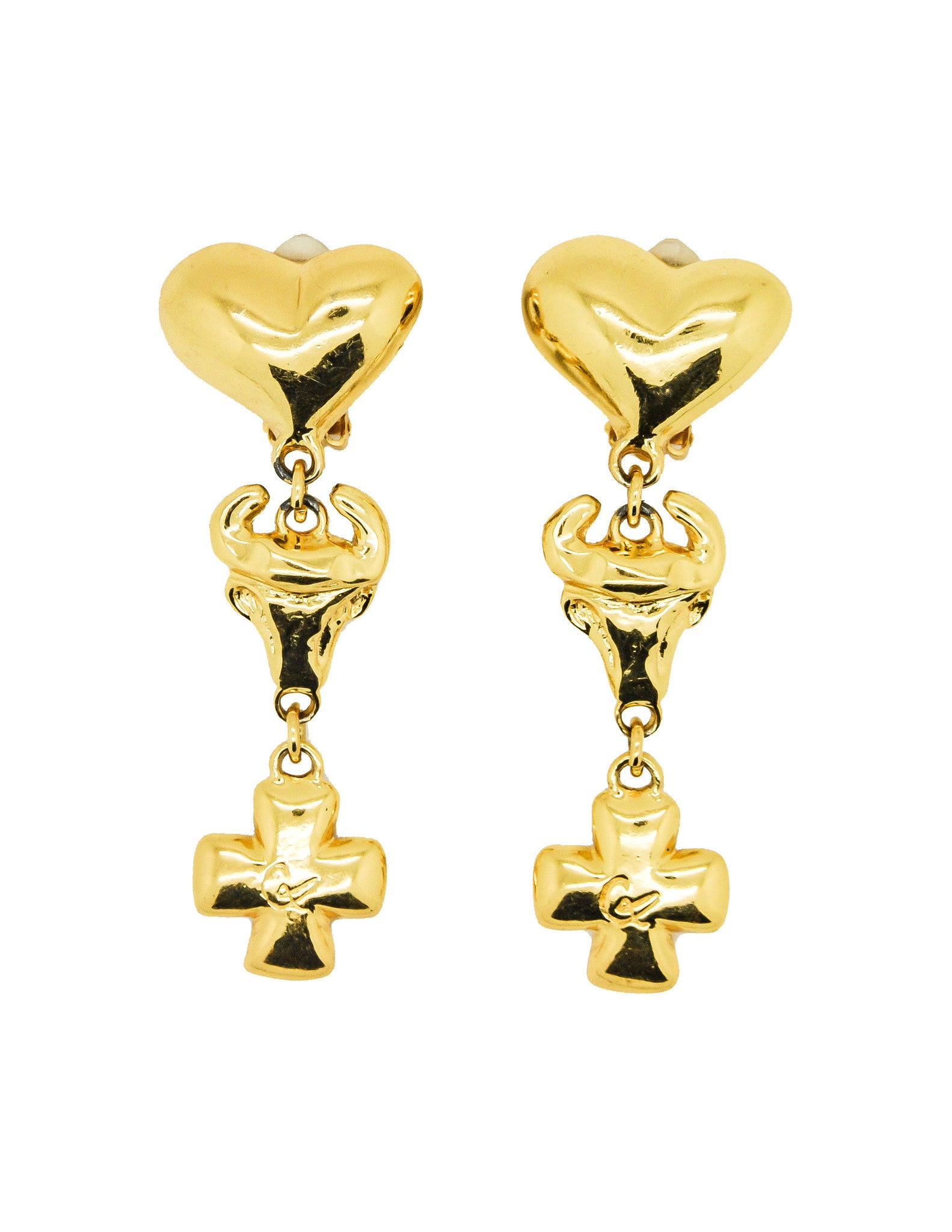 Christian Lacroix Vintage Heart Bull Cross Earrings - Amarcord Vintage Fashion  - 1