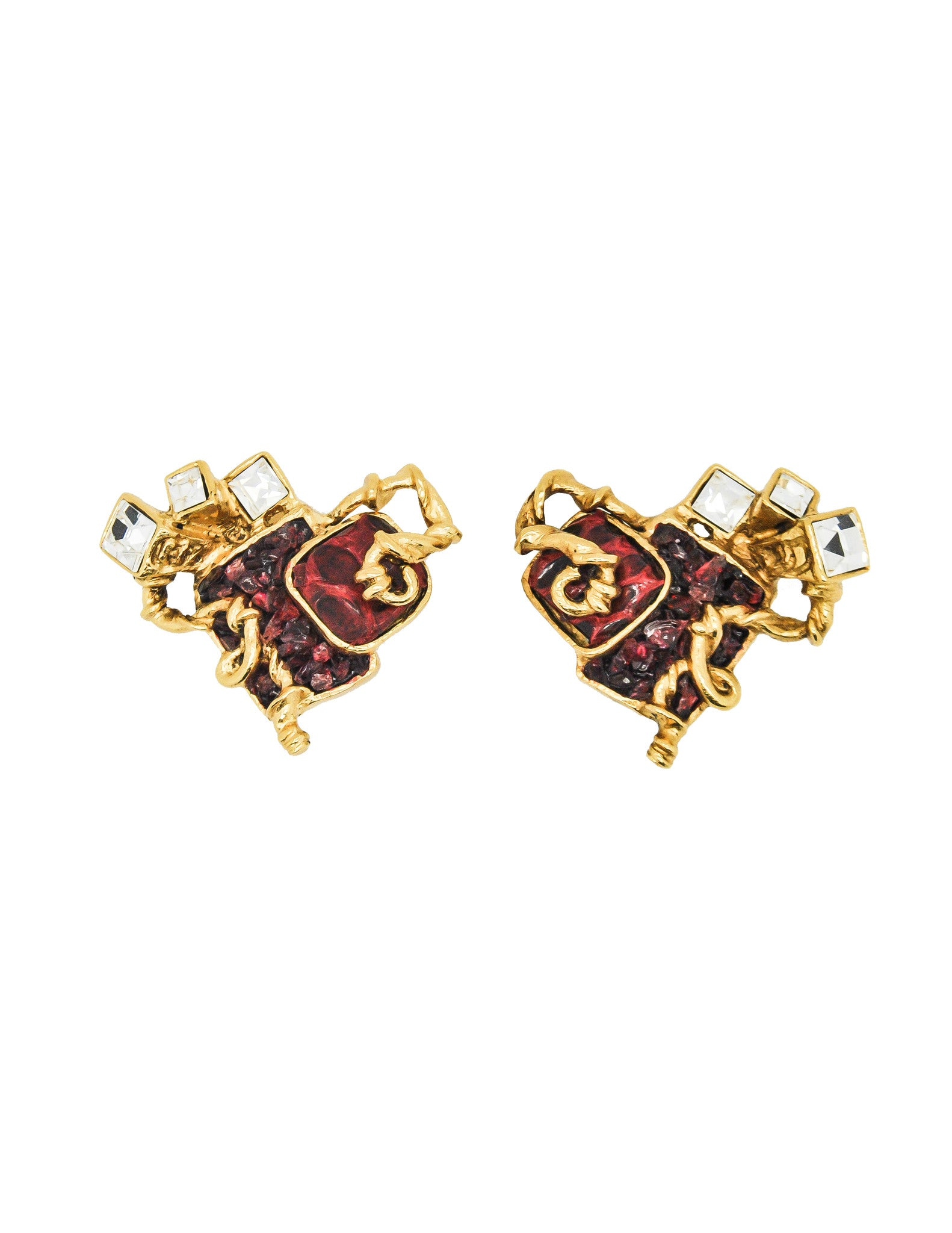 Christian Lacroix Vintage Sacred Heart Earrings - Amarcord Vintage Fashion  - 1
