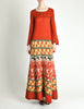 Clutch Cargo Vintage Rust Floral Geisha Knit Sweater Dress - Amarcord Vintage Fashion  - 2