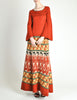 Clutch Cargo Vintage Rust Floral Geisha Knit Sweater Dress - Amarcord Vintage Fashion  - 3