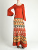 Clutch Cargo Vintage Rust Floral Geisha Knit Sweater Dress - Amarcord Vintage Fashion  - 6
