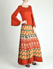 Clutch Cargo Vintage Rust Floral Geisha Knit Sweater Dress - Amarcord Vintage Fashion  - 7