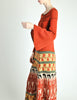 Clutch Cargo Vintage Rust Floral Geisha Knit Sweater Dress - Amarcord Vintage Fashion  - 5