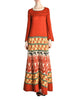 Clutch Cargo Vintage Rust Floral Geisha Knit Sweater Dress - Amarcord Vintage Fashion  - 1