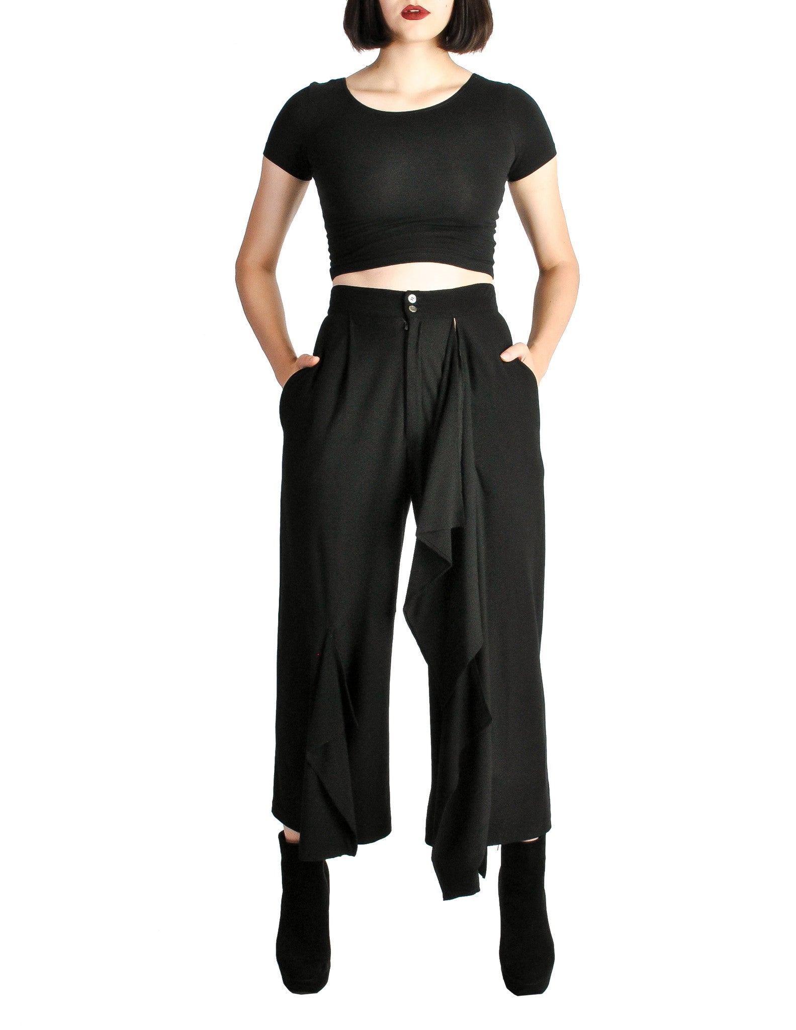Comme des Garçons Vintage Black Wool Cropped Pants - Amarcord Vintage Fashion  - 1